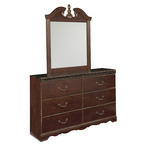 Signature Design by Ashley Naralyn 6 Drawer Dresser with Faux Marble Top and Bracket Legs and Traditional Bedroom Mirror