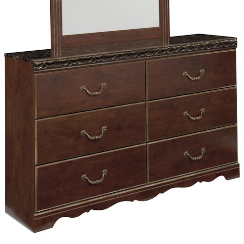 Signature Design by Ashley Naralyn 6 Drawer Dresser with Faux Marble Top and Scalloped Leg Base