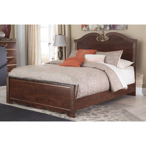 Signature Design by Ashley Naralyn Queen Traditional Panel Bed with Antique Metallic Finish Accents