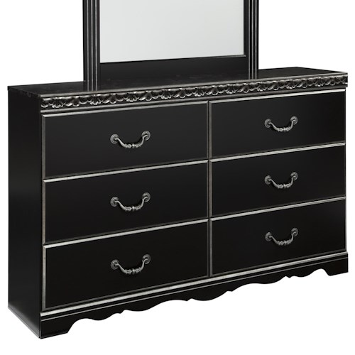 Signature Design by Ashley Navoni 6 Drawer Dresser with Faux Marble Top and Scalloped Leg Base
