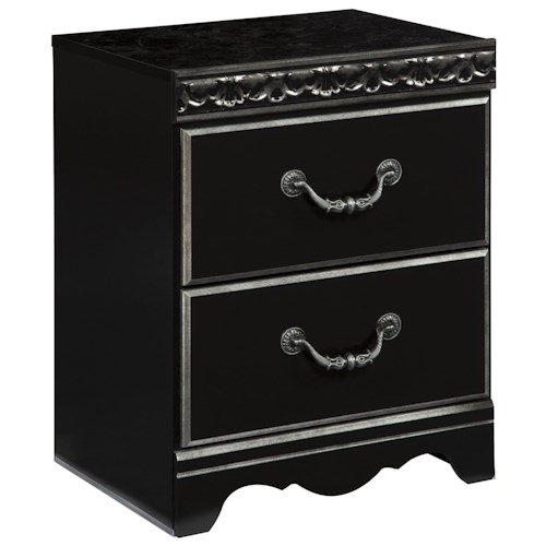 Signature Design by Ashley Navoni 2-Drawer Night Stand with Faux Marble Top and USB Charger