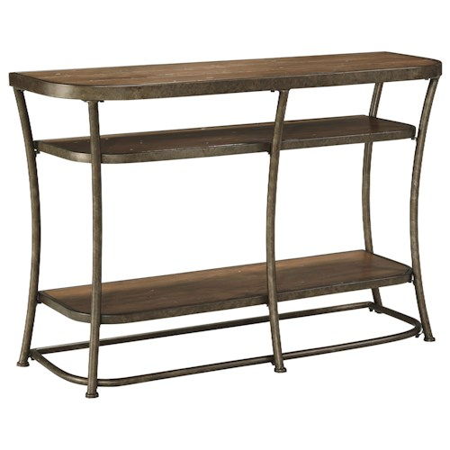 Signature Design by Ashley Nartina Rustic Metal Frame Sofa Table with Distressed Pine Top & Shelves