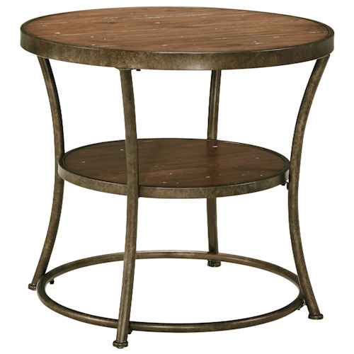 Signature Design by Ashley Nartina Rustic Metal Frame Round End Table with Distressed Pine Top & Shelf