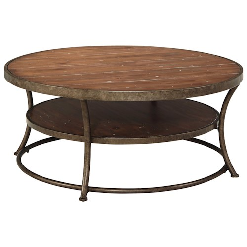 Signature Design by Ashley Nartina Rustic Metal Frame Round Cocktail Table with Distressed Pine Top & Shelf