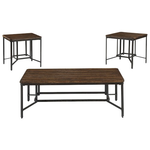 Signature Design by Ashley Newelk 3-Piece Occasional Table Set with Woodblock Table Tops & Metal Bases