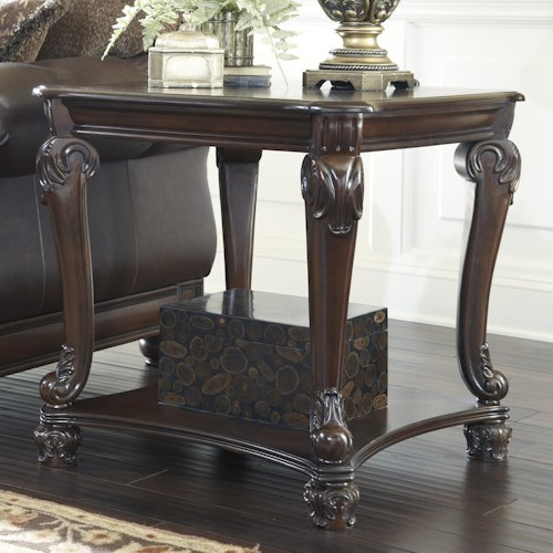 Signature Design by Ashley Norcastle Traditional Square End Table with Cabriole Legs