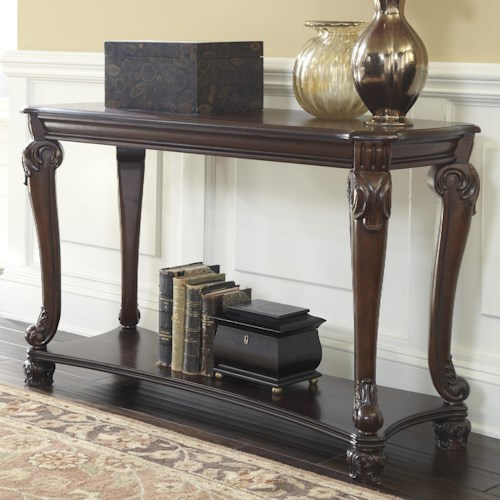 Signature Design by Ashley Norcastle Traditional Sofa Console Table with Cabriole Legs
