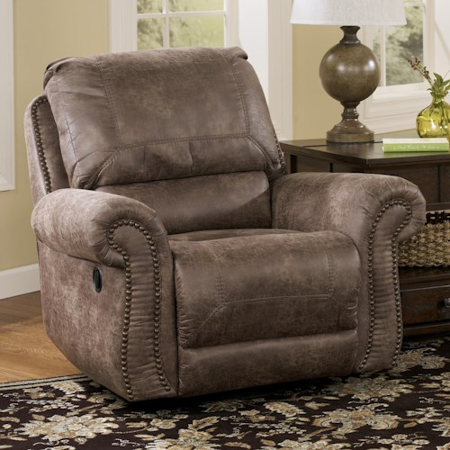 Signature Design by Ashley Oberson - Gunsmoke Swivel Glider Recliner with Rolled Arms & Nail Head Trim