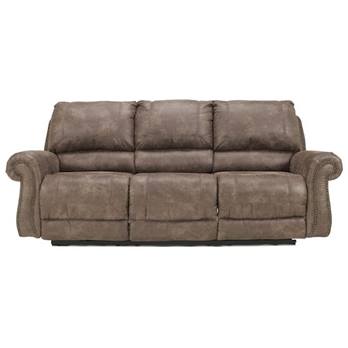Signature Design by Ashley Oberson - Gunsmoke Reclining Sofa with Rolled Arms & Nail Head Trim