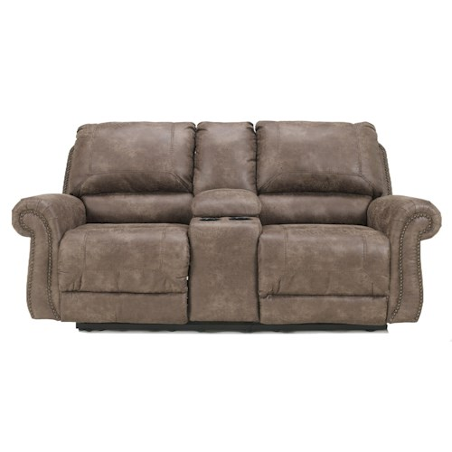 Signature Design by Ashley Oberson - Gunsmoke Double Reclining Loveseat w/ Console