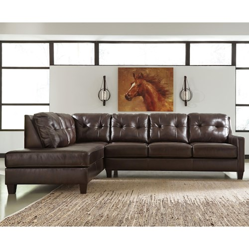 Ashley signature design o 39 kean leather match 2 piece for Ashley leather sectional with chaise