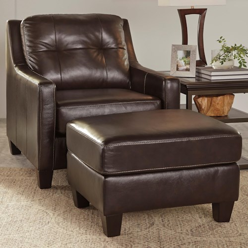 Signature Design by Ashley O'Kean Contemporary Leather Match Chair & Ottoman