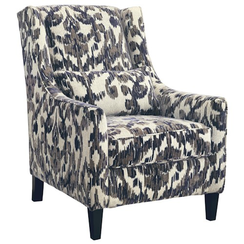 Signature Design by Ashley Owensbe Accent Wing Back Accent Chair with Ikat Fabric and Kidney Pillow