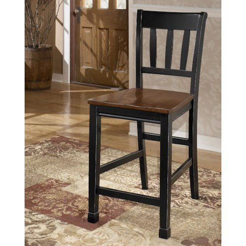 Signature Design by Ashley Owingsville Two-Tone Barstool with Slat Back