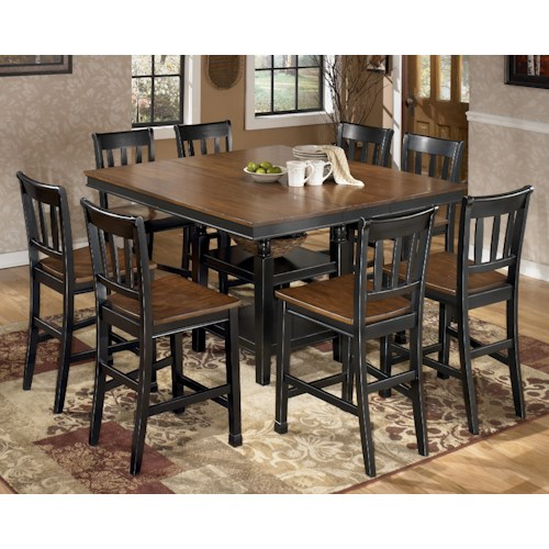Signature Design by Ashley Owingsville 9-Piece Square Counter Extension Table Set