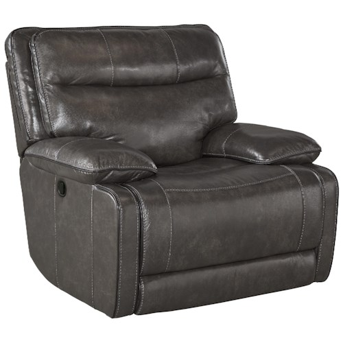 Signature Design by Ashley Palladum Leather Match Contemporary Rocker Recliner