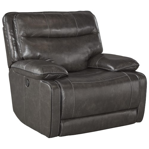 Signature Design by Ashley Palladum Leather Match Contemporary Power Rocker Recliner