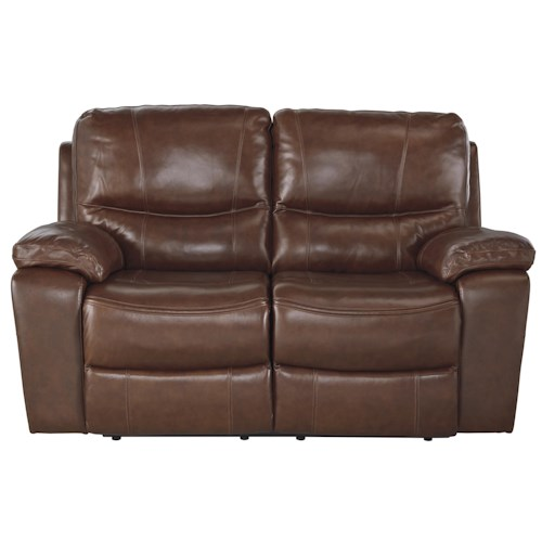 Signature Design by Ashley Panache Contemporary Leather Match Reclining Power Loveseat