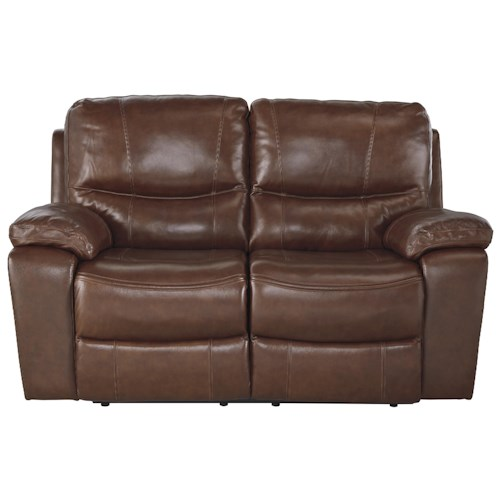 Signature Design by Ashley Panache Contemporary Leather Match Reclining Loveseat