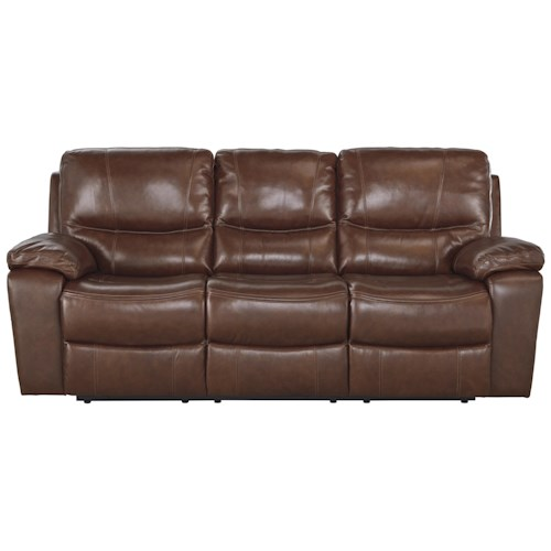 Signature Design by Ashley Panache Contemporary Leather Match Reclining Sofa