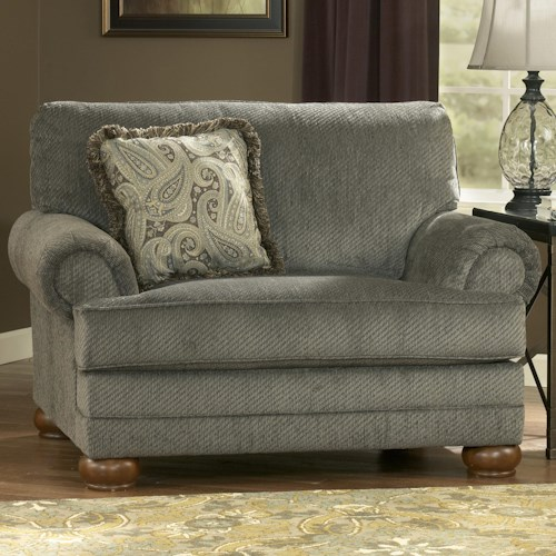 Signature Design by Ashley Parcal Estates - Basil Traditional Chair-and-a-Half with Fringe Toss Pillow