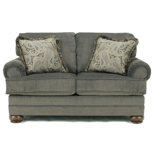 Signature Design by Ashley Parcal Estates - Basil Traditional Loveseat with Fringe Toss Pillows