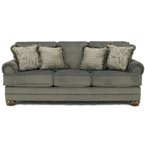 Signature Design by Ashley Parcal Estates - Basil Traditional Stationary Sofa with Fringe Toss Pillows