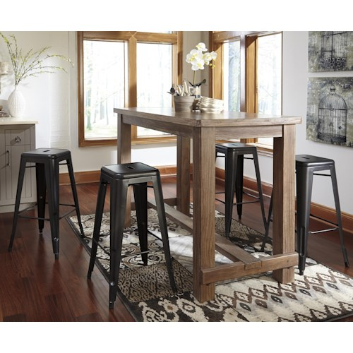 Signature Design by Ashley Pinnadel 5-Piece Bar Table Set with 4 Stackable Metal Stools