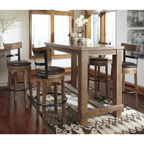 Signature Design by Ashley Pinnadel 5-Piece Bar Table Set with Upholstered Swivel Stools with Wood & Metal Backs
