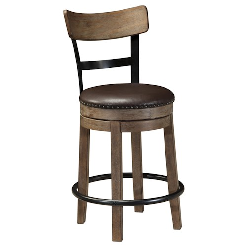 Signature Design by Ashley Pinnadel Upholstered Swivel Barstool with Wood & Metal Backrest