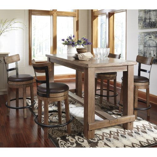 Ashley Signature Design Pinnadel 5 Piece Counter Table Set