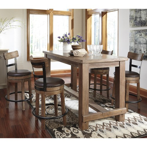 Signature Design by Ashley Pinnadel 5-Piece Counter Table Set with Upholstered Swivel Stools with Wood & Metal Backs