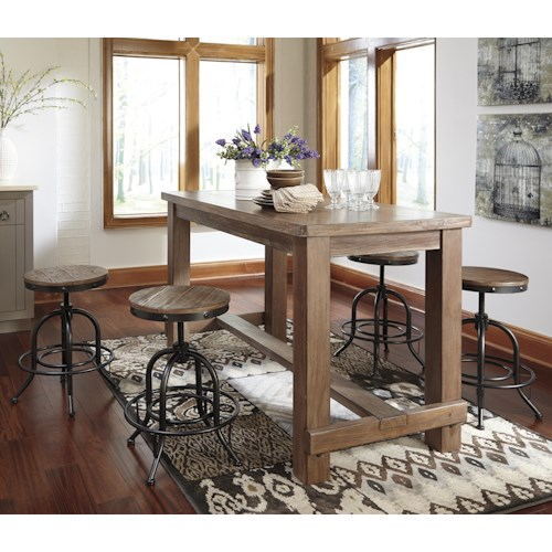 Signature Design by Ashley Pinnadel 5-Piece Counter Table Set with Industrial Style Adjustable Swivel Stools