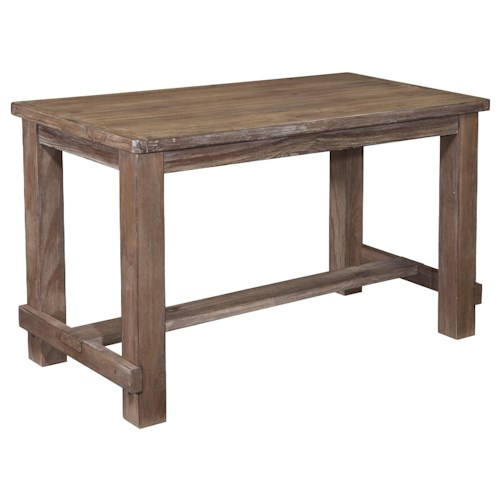 Signature Design by Ashley Pinnadel Rectangular Pine Veneer Dining Room Counter Table in Wire Brushed Brown Gray Finish
