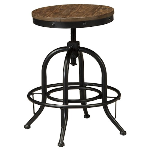 Signature Design by Ashley Pinnadel Swivel Stool with Metal Base & Adjustable Height Wood Seat