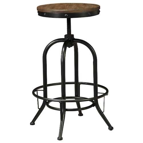 Signature Design by Ashley Pinnadel Tall Swivel Stool with Metal Base & Adjustable Height Wood Seat