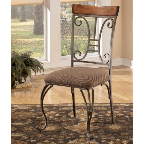 Signature Design by Ashley Plentywood Metal Dining Upholstered Side Chair with Harp Back