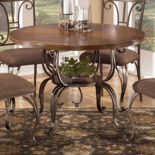 Signature Design by Ashley Plentywood Round Dining Table with Metal Base with Shelf