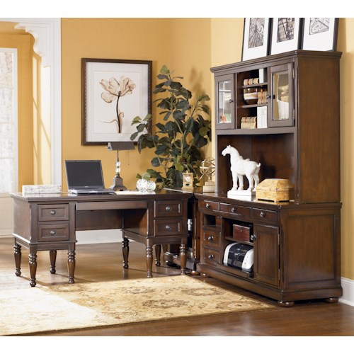 Signature Design by Ashley Porter L-Shape Desk with Large Storage Leg Desk and Large Hutch