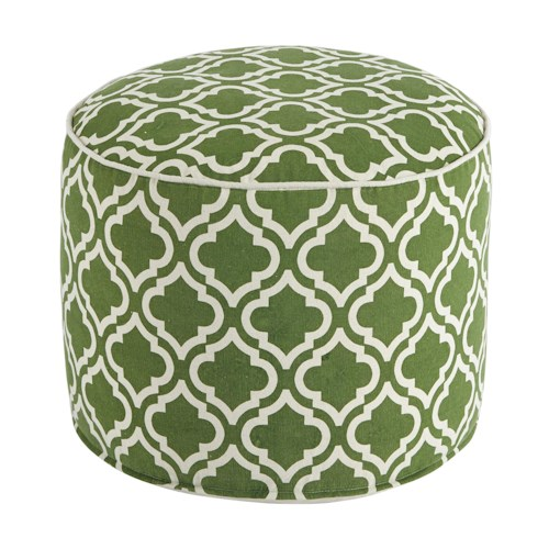 Signature Design by Ashley Poufs Geometric - Green/White Pouf