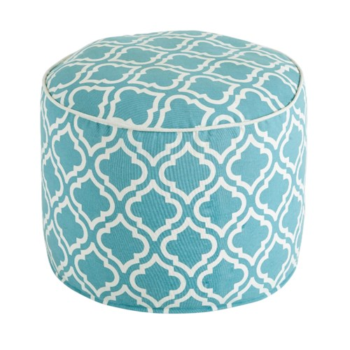 Signature Design by Ashley Poufs Geometric - Turquoise Pouf