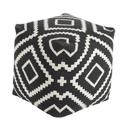 Signature Design by Ashley Poufs Geometric - Black Pouf