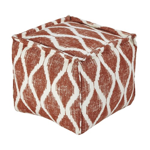 Signature Design by Ashley Poufs Bruce - Orange/White Pouf