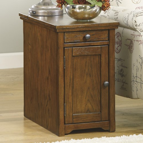 Signature Design by Ashley Laflorn Chairside End Table with Power Outlets & Pull-Out Shelf