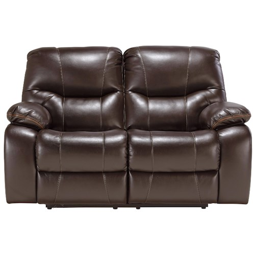 Signature Design by Ashley Pranas Faux Leather Reclining Power Loveseat with Accent Trim