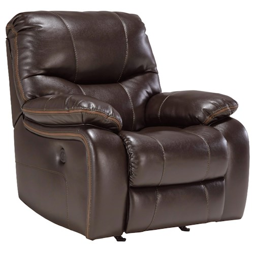 Signature Design by Ashley Pranas Faux Leather Power Rocker Recliner with Accent Trim
