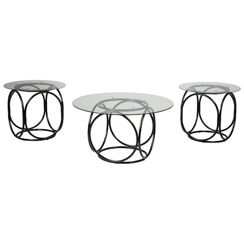 Signature Design by Ashley Quassey Contemporary Metal and Glass Occasional Table Set