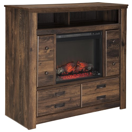 Signature Design by Ashley Quinden Rustic Media Chest with Fireplace Insert & Doors