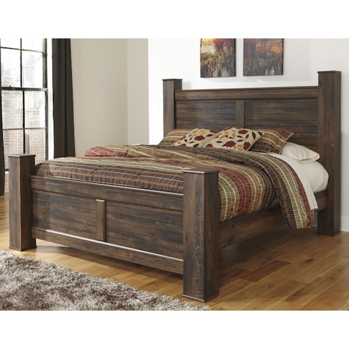 Signature Design by Ashley Quinden Rustic King Poster Bed