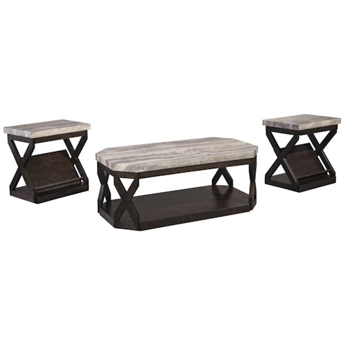 Signature Design by Ashley Radilyn 3-Piece Occasional Table Set with Faux Travertine-Look Top